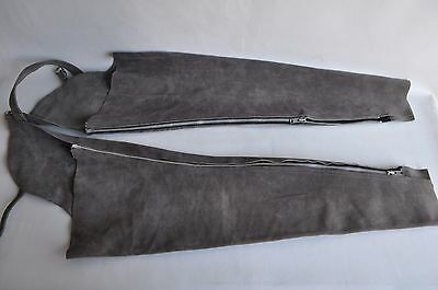 Vintage Gray Grey Leather Chaps Motorcycle Rodeo Riding Western Biker Womens Med