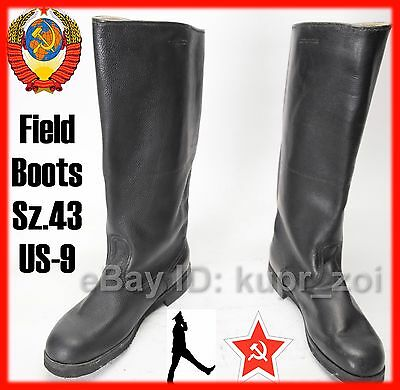 NEW Sz.43 Wide Soviet Calfskin perfect Leather Army FIELD Boots NEW -4