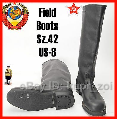 NEW Sz.42 midle Soviet Calfskin perfect Leather Army FIELD Boots NEW -1
