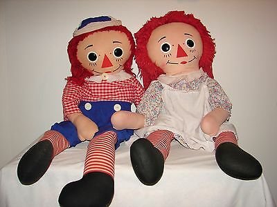 """Vintage Knickerbocker Raggedy Ann and Andy Doll Set Large Huge 41"""" Rare"""