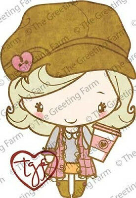 LATTE ANYA-The Greeting Farm Mount Rubber Stamp-Stamping Craft-Coffee-RETIRED