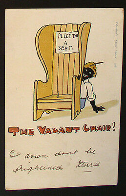 "Racist  Valentine's ""Coon"" Series Post Card - C. 1910  ""The Vacant Chair"""