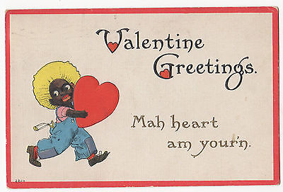 "Racist  Valentine Post Card - 1915 "" My heart am your'n"""