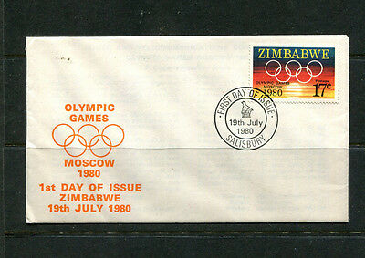 Africa Zimbabwe 1980 Fdc Moscow Olympics First Day Stamp Cover