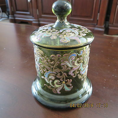 """Antique Hand Painted Covered Dish 4"""" X 5.5"""" In Height Candy Dish Or Just Decor"""