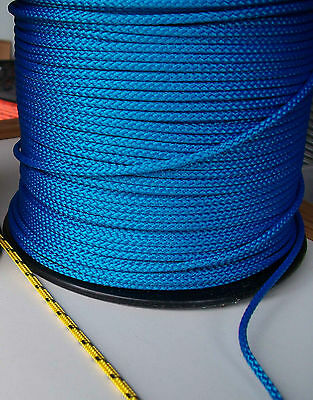 15m X 3mm BLUE DOUBLE BRAID WITH DYNEEMA® CORE, YACHT & MARINE ROPE tens:480kg