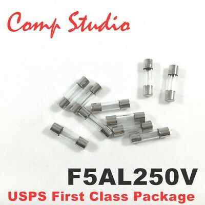 compstudio New 10X F5AL250V 5A 250V Fast Blow Fuse Glsss 5x20mm US Ship