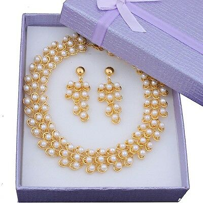 Fashion White Pearl Necklace Set Dubai Gold Plated Jewelry Sets Gift Box