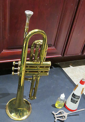 Lovely Sixties Roth Reynolds Brass Cornet In Case With Music Stand, Mute, & Oil