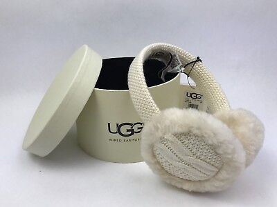 UGG Australia Women's Wired Cable-Knit Crochet Earmuffs in Ivory - New/ Gift box