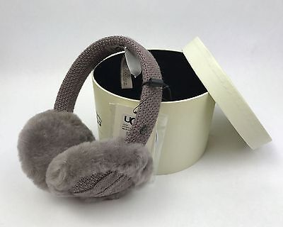 UGG Australia Women's Wired Cable-Knit Crochet Earmuffs in Gray - New/ Gift box