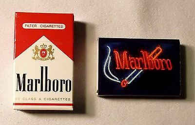 2 Boxes Marlboro Matches: Red Cigarette Box & Neon Sign Cigarette Box