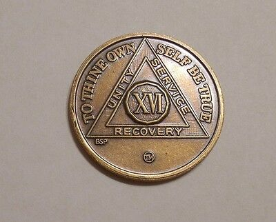 aa bronze alcoholics anonymous 16 year sobriety chip coin token medallion