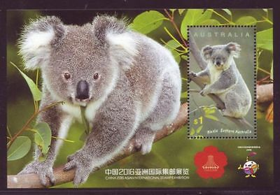 2016 Australian Decimal Stamps -CHINA International Stamp Expo $1 KOALA MNH M/S