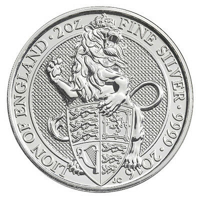 2016 ~ 2~Oz. ~ Pure .999 Silver ~ British  Silver  Queen's  Beast  Coin ~ $48.88