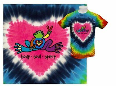 Peace Frogs - Heart Body Soul Spirit - Tie Dyed - Adult Large