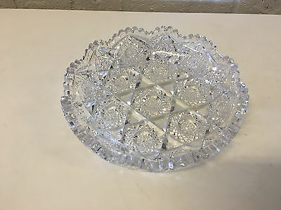 Antique ABP American Brilliant Period Cut Glass Round Shallow Bowl / Candy Dish