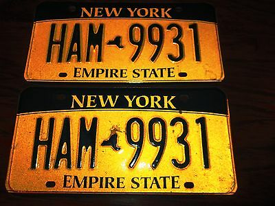 "Vintage Pair Of New York State License Plates ""ham9931"" Gold/black"