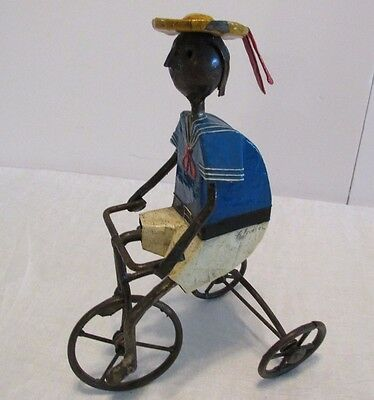 Vtg Manuel Felguerez Metal Mexican Folk Sculpture Boy Riding Tricycle Signed 10""