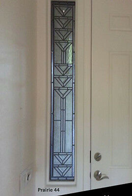 "Leaded Glass Sidelight. window   PRAIRIE design 12 "" x  72 "" we make all sizes"