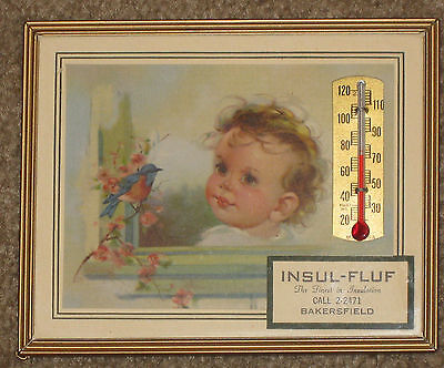 Vintage Advertising Framed Baby Thermometer Insul-Fluf Bakersfield Great Antique