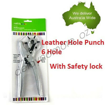 Revolving Eyelet Leather 6 hole Punch Puncher Plier Tool Craft Belt New