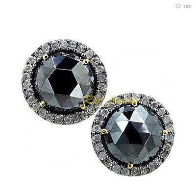 14k Gold 9.62Ct Black Spinel Diamond Pave Round Stud Earrings Jewelry 925 Silver