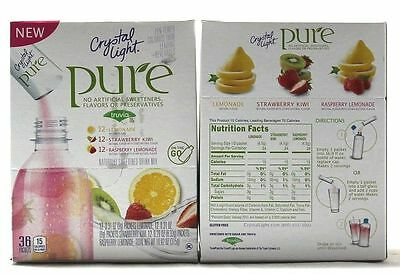 CRYSTAL LIGHT Pure On The Go Drink Mix 36 Pkts EXP 7/25/2017 (Free Shipping)