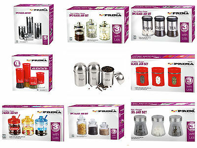 Stainless Steel Glass Coffee Tea Sugar Jar With Lid Canisters Storage Full Sets