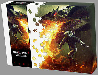 The Witcher 2 - Puzzle | Geralt + Dragon | 1500 Teile + Poster | NEU & OVP
