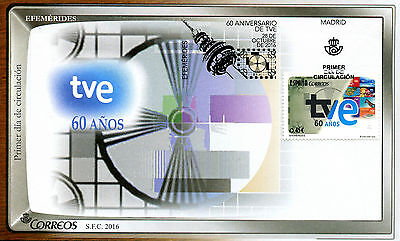 Spain 2016 FDC TVE 60 Years 1v Set Cover Television TV Communication Stamps