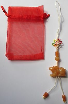 """Jade Gemstone """"Year of the Rabbit"""" Lucky Charm with Gift Bag"""
