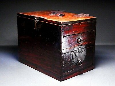 1849 Japanese Edo Antique Furniture Drawer Wooden TANSU Suzuri-Bako D166