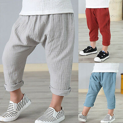 Children Kids Linen Pleated Pants Ankle Length Trousers Casual