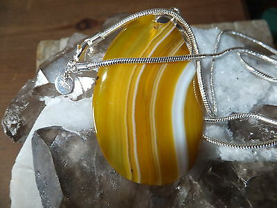 PENDANT NECKLACE WITH NATURAL AGATE QUARTZ STONE AND QUALITY CHAIN TOTAL 152Ct