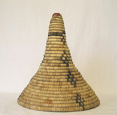 """Large Wrapped Coil Woven Tapered Collection Basket w/Three Sided Desgn 15"""" Tall"""