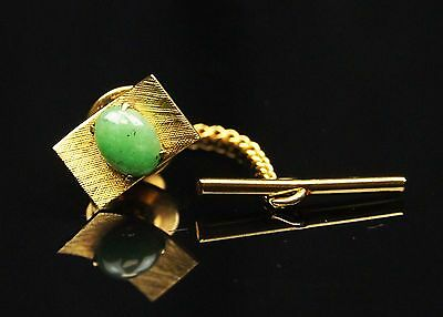 19th Cent Vintage Old European Antique Shirt Pin Button Natural Green Jade #880