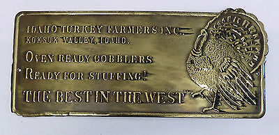 Brass Plaque,Sign,Vintage New Old Stock Idaho Turkey Farmer Humorous Quote