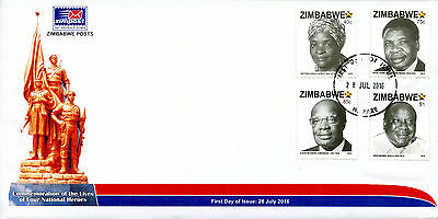Zimbabwe 2016 FDC National Heroes 4v Set Cover Politicians People on Stamps