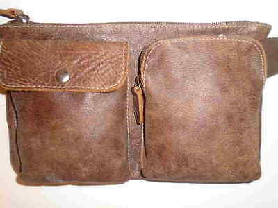 Roots    Tribe  All-Leather 3 Pocket-Pouch Fanny Pack - Mint -Belt Size Med.