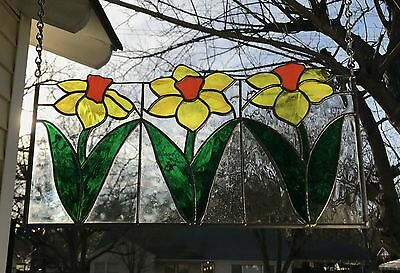 "Stained Glass Window Panel Suncatcher Spring Daffodils - 9""x 18"""