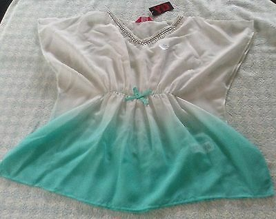 girls beach cover up swimsuit kaftan blouse top beads mint white 7-12 years NEW
