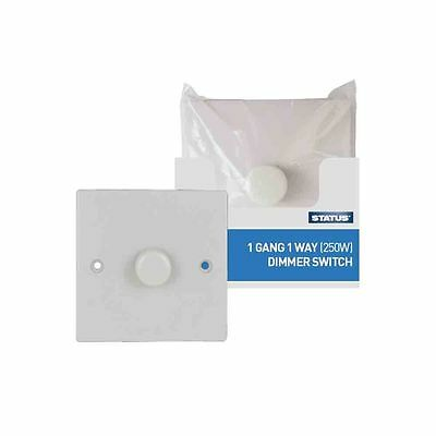 1 Gang 1 Way Dimmer Switch Plastic White Quality Switch Dim 250W New Uk Fitting