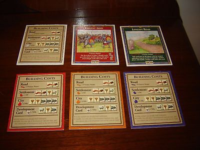 The Settlers of Catan Replacement Parts - 4 Building Costs, Army & Road Cards