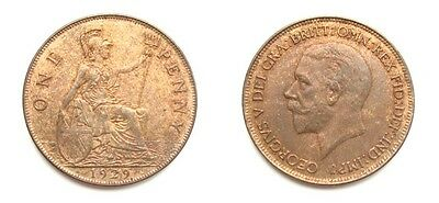 George V 1929 Bronze Penny - Very High Grade