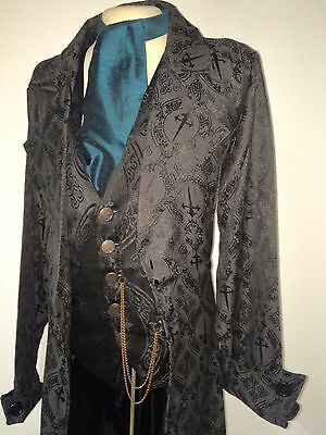 Black/Black Dagger Gothic Long Trench Coat & Dagger Waistcoat In Chest Size 44
