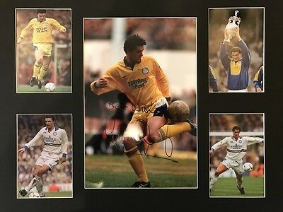 Signed Framed Gary Speed Leeds United Autograph Photo Montage Newcastle Wales