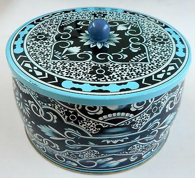 Designed by Daher Long Island NY Turquoise & Blue Round Button Candy Tin ENGLAND