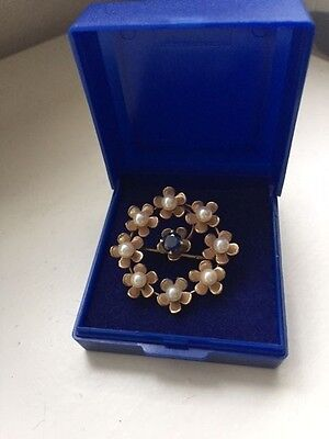 QUALITY 9ct GOLD DIAMOND PEARL GEMSTONE BROOCH LADIES MOTHERS DAY GIFT