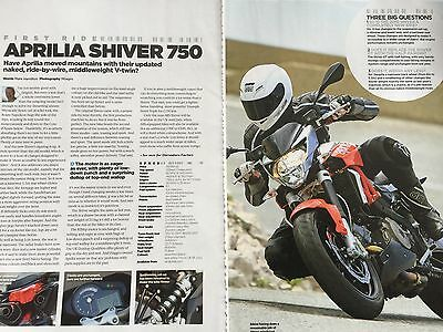 Aprilia Shiver 750 # 2 Page Original First Ride Motorcycle Article